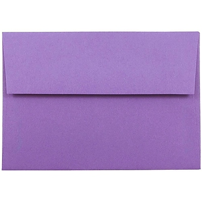 JAM Paper® 4bar A1 Envelopes, 3 5/8 x 5 1/8, Brite Hue Violet Purple Recycled, 25/pack (15815)