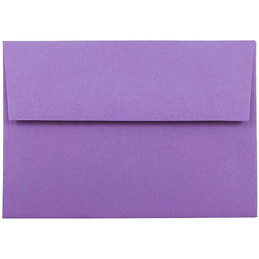 JAM Paper® 4Bar A1 Colored Invitation Envelopes, 3.625 x 5.125, Violet Purple Recycled, Bulk 250/Box (15815H)