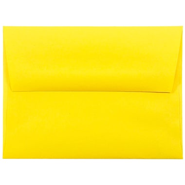 JAM Paper® A2 Invitation Envelopes, 4 3/8 x 5 3/4, Brite Hue Yellow Recycled, 1000/carton (15839B)
