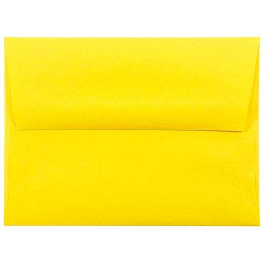 JAM Paper® A2 Colored Invitation Envelopes, 4.375 x 5.75, Yellow Recycled, Bulk 250/Box (15839H)