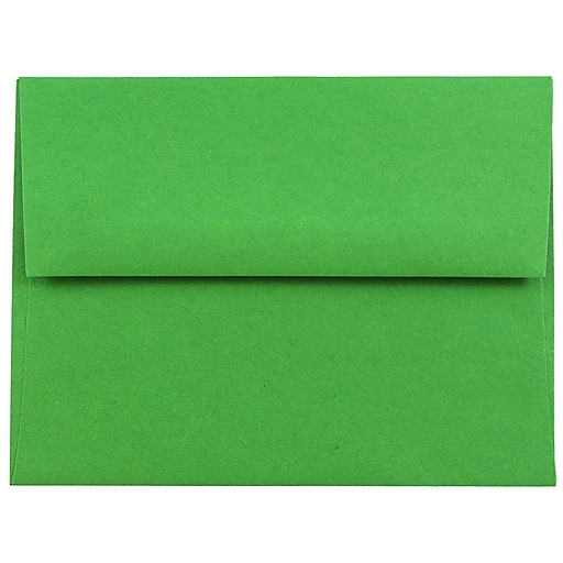 JAM Paper® A2 Colored Invitation Envelopes, 4.375 x 5.75, Green Recycled, Bulk 250/Box (15843H)