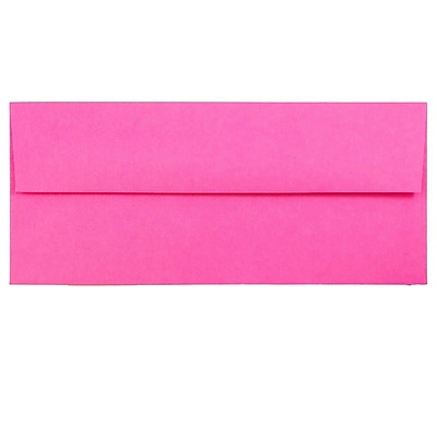 JAM Paper® #10 Business Envelopes, 4 1/8 x 9 1/2, Brite Hue Ultra Fuchsia Pink, 500/box (15847H)