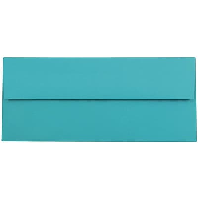 JAM Paper® #10 Business Envelopes, 4 1/8 x 9 1/2, Brite Hue Sea Blue Recycled, 500/box (15858H)