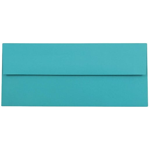JAM Paper® #10 Business Colored Envelopes, 4.125 x 9.5, Sea Blue Recycled, 100/Pack (15858C)