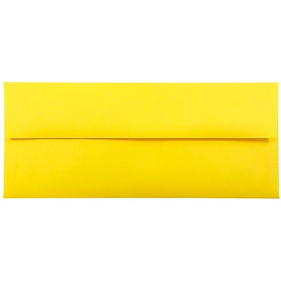 JAM Paper® #10 Business Envelopes, 4 1/8 x 9 1/2, Brite Hue Yellow Recycled, 25/pack (15859)
