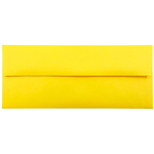 JAM Paper® #10 Business Colored Envelopes, 4.125 x 9.5, Yellow Recycled, 50/Pack (15859I)