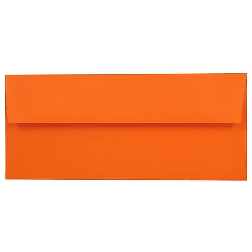 JAM Paper® #10 Business Colored Envelopes, 4.125 x 9.5, Orange Recycled, 50/Pack (15860i)