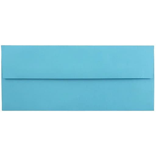 JAM Paper® #10 Business Colored Envelopes, 4.125 x 9.5, Blue Recycled, 25/Pack (15861)
