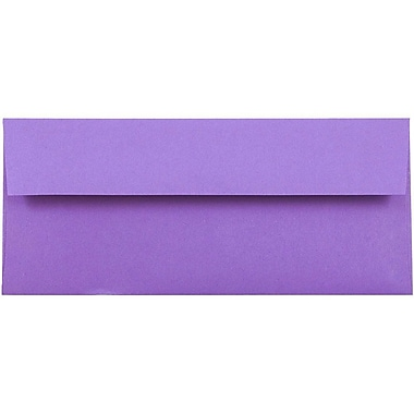 JAM Paper® #10 Business Envelopes, 4 1/8 x 9 1/2, Brite Hue Violet Purple Recycled, 500/box (15864H)
