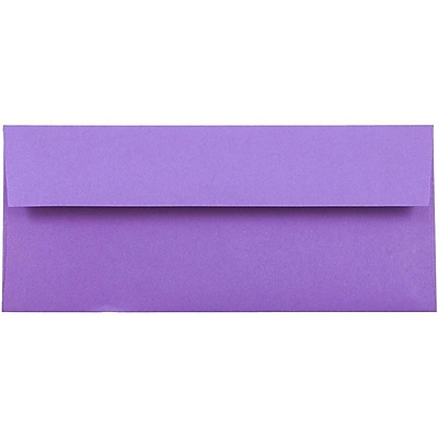 JAM Paper® #10 Business Envelopes, 4 1/8 x 9 1/2, Brite Hue Violet Purple Recycled, 50/pack (15864I)
