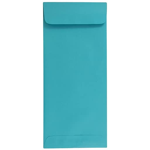 JAM Paper® #14 Policy Business Colored Envelopes, 5 x 11.5, Sea Blue Recycled, 50/Pack (3156406I)