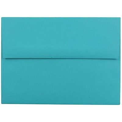 JAM Paper® A6 Invitation Envelopes, 4.75 x 6.5, Brite Hue Sea Blue Recycled, 50/pack (15903I)