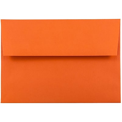 JAM Paper® A6 Invitation Envelopes, 4.75 x 6.5, Brite Hue Orange Recycled, 50/pack (15905I)