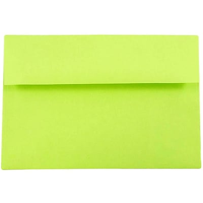 JAM Paper® A8 Invitation Envelopes, 5.5 x 8.125, Brite Hue Ultra Lime Green, 50/pack (15955I)