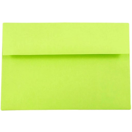 JAM Paper® A8 Colored Invitation Envelopes, 5.5 x 8.125, Ultra Lime Green, 25/Pack (15955)