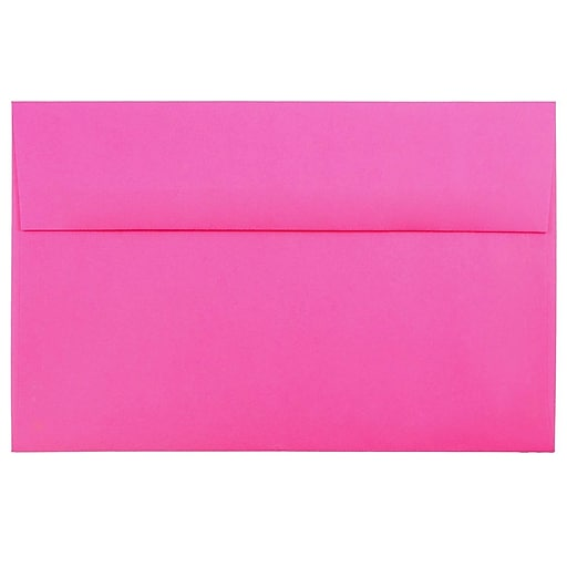 JAM Paper® A10 Colored Invitation Envelopes, 6 x 9.5, Ultra Fuchsia Pink, Bulk 1000/Carton (16577B)