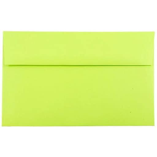 JAM Paper® A10 Colored Invitation Envelopes, 6 x 9.5, Ultra Lime Green, Bulk 1000/Carton (20835B)