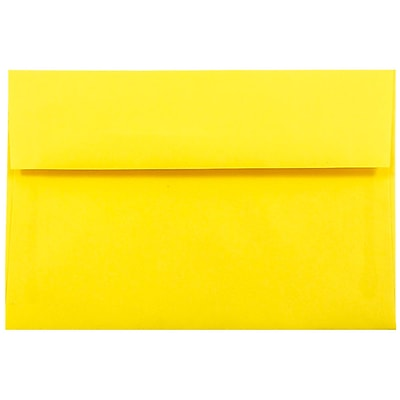 JAM Paper® A10 Invitation Envelopes, 6 x 9.5, Brite Hue Yellow Recycled, 50/pack (28038I)