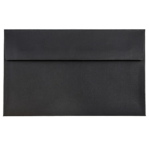 JAM Paper® A9 Invitation Envelopes, 5.75 x 8.75, Black Linen, Bulk 1000/Carton (900906807B)