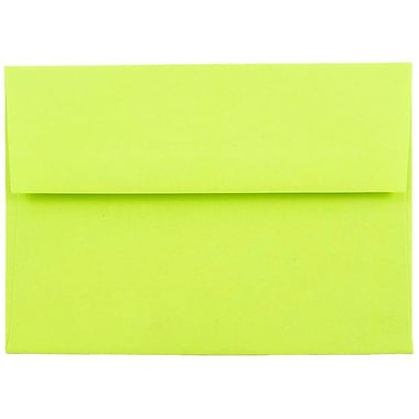 JAM Paper® A6 Invitation Envelopes, 4.75 x 6.5, Brite Hue Ultra Lime Green, 50/pack (52610I)