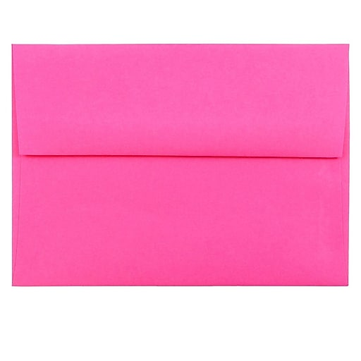 JAM Paper® A6 Colored Invitation Envelopes, 4.75 x 6.5, Ultra Fuchsia Pink, Bulk 1000/Carton (60574B)