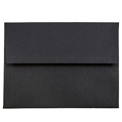 JAM Paper® A2 Invitation Envelopes, 4 3/8 x 5 3/4, Black Linen Recycled , 50/pack (64345I)