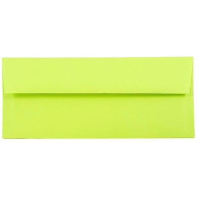 JAM Paper® #10 Business Envelopes, 4 1/8 x 9 1/2, Brite Hue Ultra Lime Green, 50/pack (71091I)