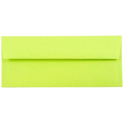 JAM Paper® #10 Business Colored Envelopes, 4.125 x 9.5, Ultra Lime Green, Bulk 500/Box (71091H)