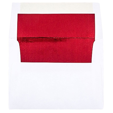 JAM Paper® A2 Foil Lined Envelopes, 4 3/8 x 5 3/4, White with Red Lining, 25/pack (72158)