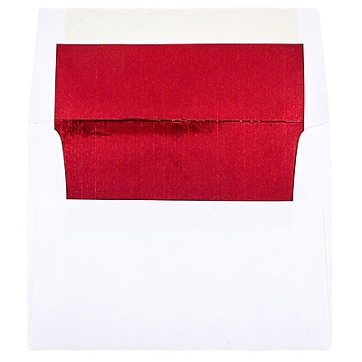 JAM Paper® A2 Foil Lined Envelopes, 4 3/8 x 5 3/4, White with Red Lining, 50/pack (72158I)