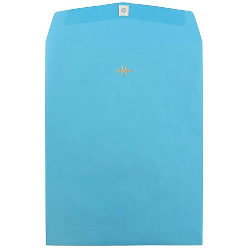 JAM Paper® 10 x 13 Open End Catalog Colored Envelopes with Clasp Closure, Blue Recycled, 100/Pack (87493)