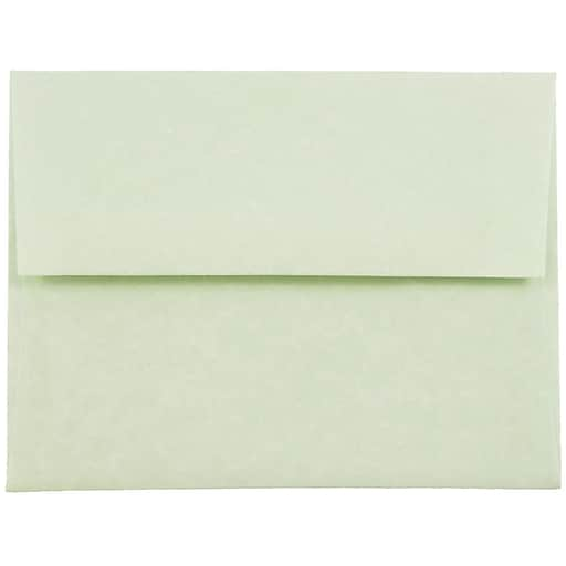 JAM Paper® A2 Parchment Invitation Envelopes, 4.375 x 5.75, Green Recycled, Bulk 250/Box (75066H)