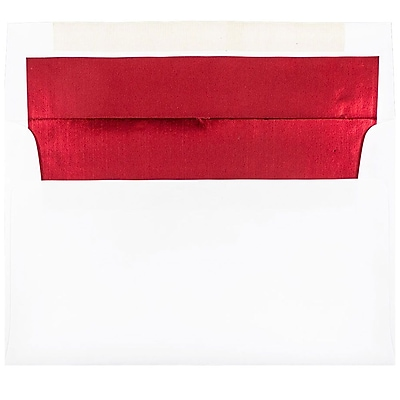 JAM Paper® A9 Foil Lined Envelopes, 5.75 x 8.75, White with Red Lining, 50/pack (76798I)