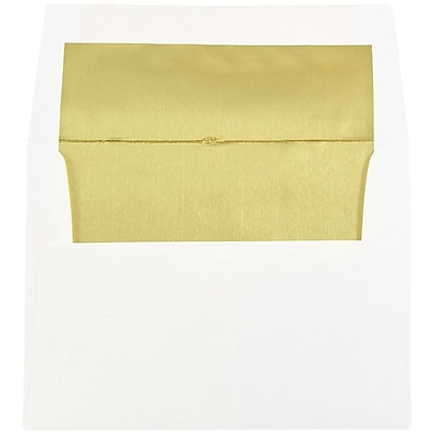 JAM Paper® A2 Foil Lined Envelopes, 4 3/8 x 5 3/4, White with Gold Lining, 50/pack (79507I)