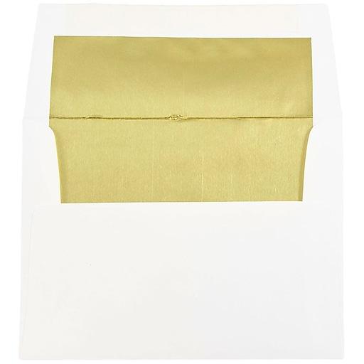 JAM Paper® A2 Foil Lined Invitation Envelopes, 4.375 x 5.75, White with Gold Foil, 50/Pack (79507I)