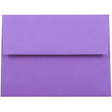 JAM Paper® A2 Invitation Envelopes, 4 3/8 x 5 3/4, Brite Hue Violet Purple Recycled, 25/pack (80252)
