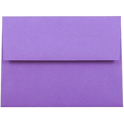 JAM Paper® A2 Invitation Envelopes, 4 3/8 x 5 3/4, Brite Hue Violet Purple Recycled, 250/box (80252H)