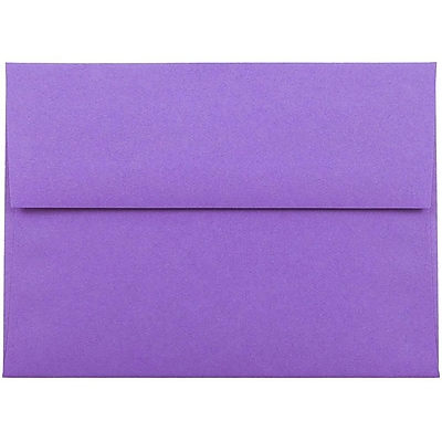 JAM Paper® A6 Invitation Envelopes, 4.75 x 6.5, Brite Hue Violet Purple Recycled, 50/pack (80260I)