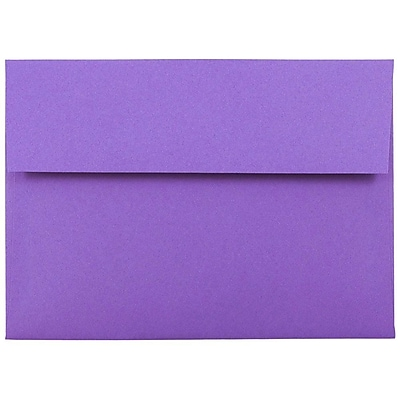 JAM Paper® A7 Invitation Envelopes, 5.25 x 7.25, Brite Hue Violet Purple Recycled, 50/pack (80278I)
