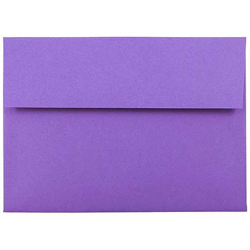 JAM Paper® A7 Colored Invitation Envelopes, 5.25 x 7.25, Violet Purple Recycled, Bulk 1000/Carton (80278B)