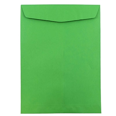 JAM Paper® 9 x 12 Open End Catalog Envelopes, Brite Hue Green Recycled, 100/pack (80402)