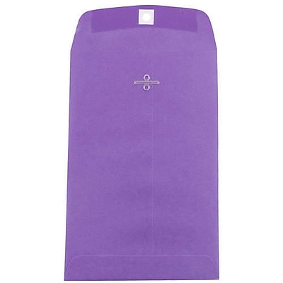 JAM Paper® 6 x 9 Open End Catalog Envelopes with Clasp Closure, Brite Hue Violet Purple Recycled, 100/pack (87956)