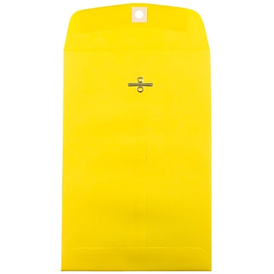 JAM Paper® 6 x 9 Open End Catalog Envelopes with Clasp Closure, Brite Hue Yellow Recycled, 10/pack (87972B)