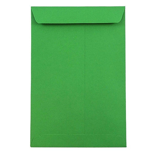 JAM Paper® 6 x 9 Open End Catalog Colored Envelopes, Green Recycled, 100/Pack (88103)