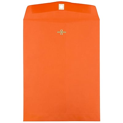 JAM Paper® 9 x 12 Open End Catalog Envelopes with Clasp Closure, Brite Hue Orange, 100/pack (92938)