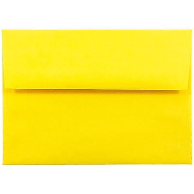 JAM Paper® A6 Invitation Envelopes, 4.75 x 6.5, Brite Hue Yellow Recycled, 50/pack (94531I)