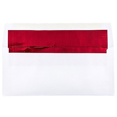 JAM Paper® #10 Foil Lined Envelopes, 4 1/8 x 9 1/2, White with Red Lining, 25/pack (95140)