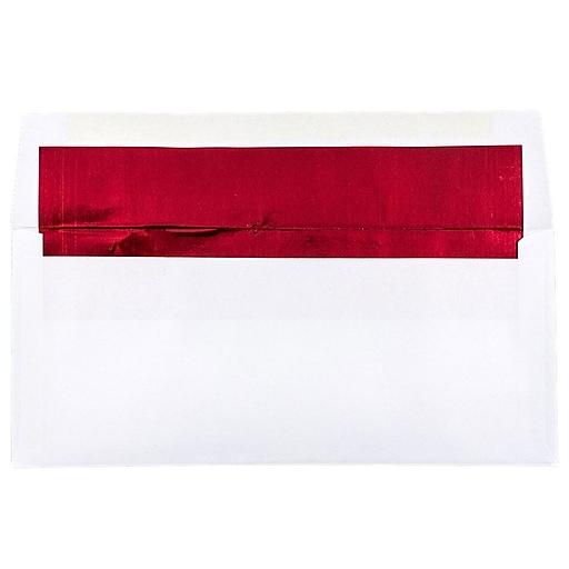 JAM Paper® #10 Business Foil Lined Envelopes, 4.125 x 9.5, White with Red Foil, 50/Pack (95140I)