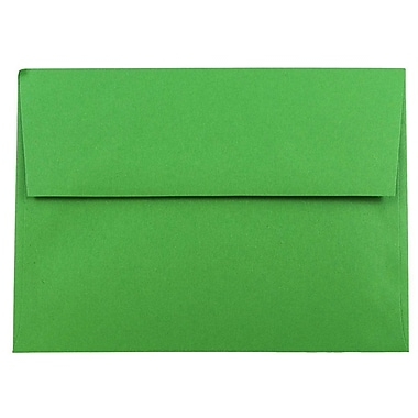 JAM Paper® A7 Invitation Envelopes, 5.25 x 7.25, Brite Hue Green Recycled, 100/Pack (95617g)