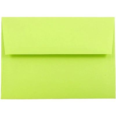JAM Paper® A7 Invitation Envelopes, 5.25 x 7.25, Brite Hue Ultra Lime Green, 50/pack (96151I)